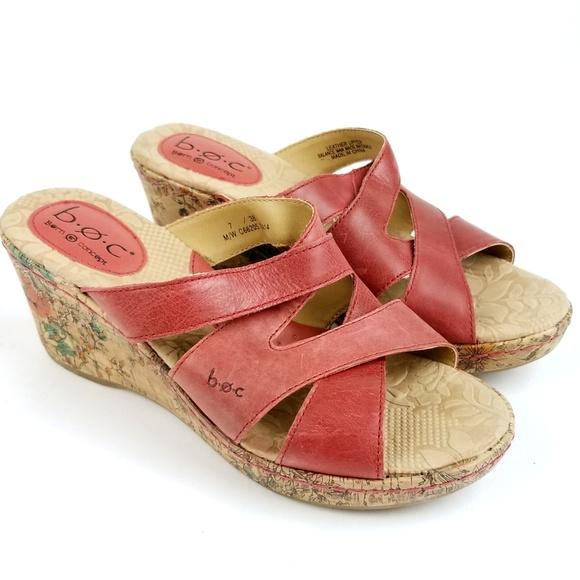 93d48ddbe9b0 Born Shoes - boc Børn Born Wedge Sandals Wmns 7 Red Leather